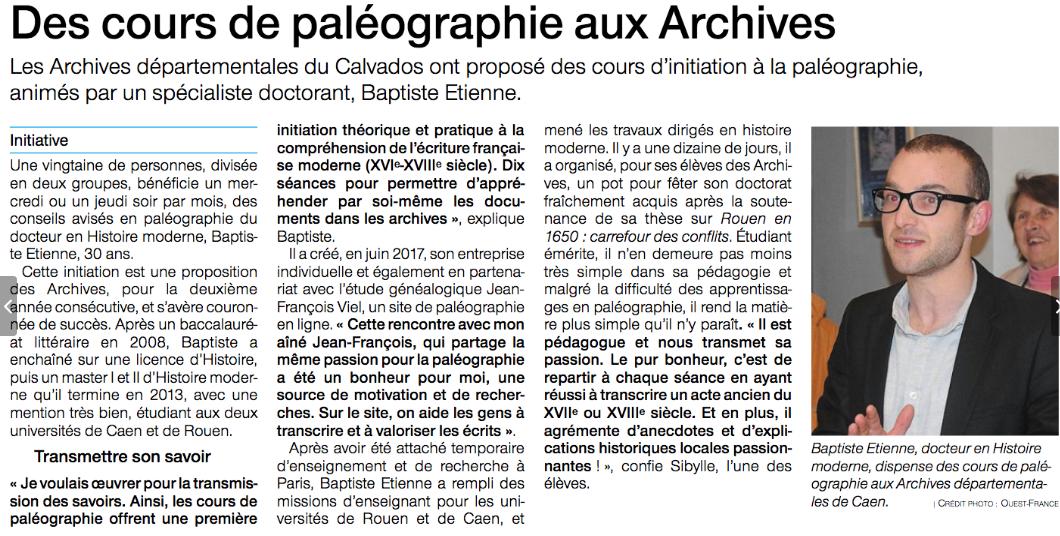 Article Ouest-France du 5 janvier 2019